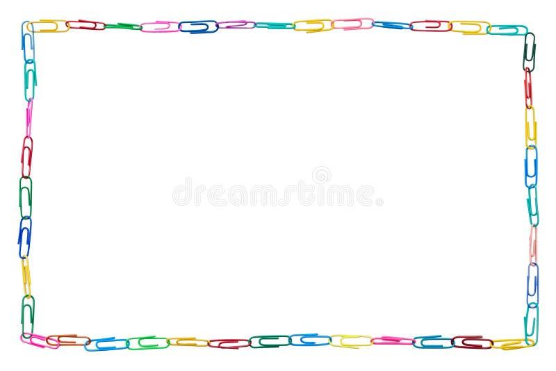 五颜六色的框架由纸夹制成 免版税图库摄影
