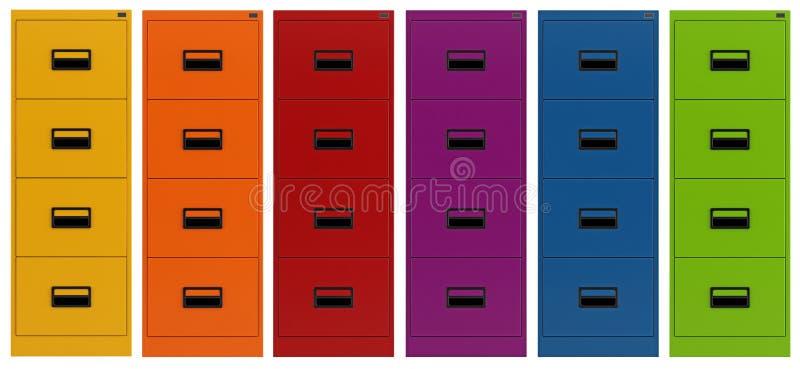 五颜六色的档案橱柜 库存例证