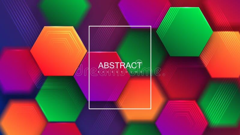 五颜六色的梯度六角瓦片 向量例证