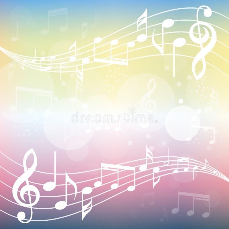 五颜六色的梯度音乐背景例证 与音乐的弯曲的梯级注意背景 向量例证
