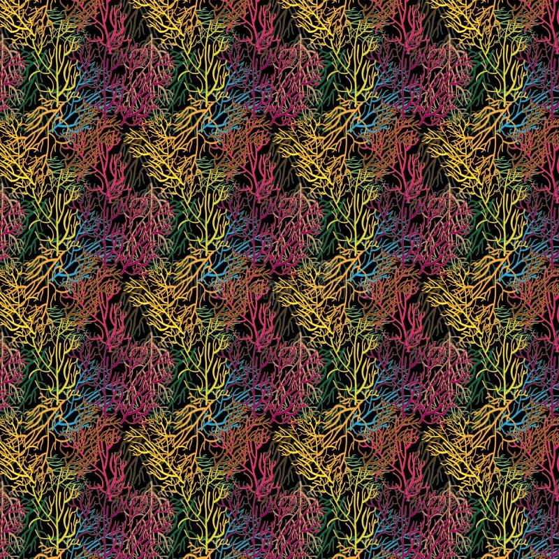 五颜六色的森林样式 导航重复五颜六色的重叠的树枝的样式 库存例证