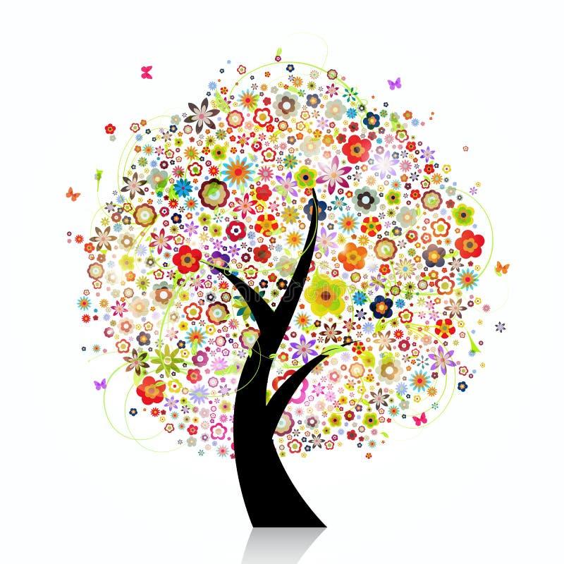 五颜六色的植物群结构树 库存例证