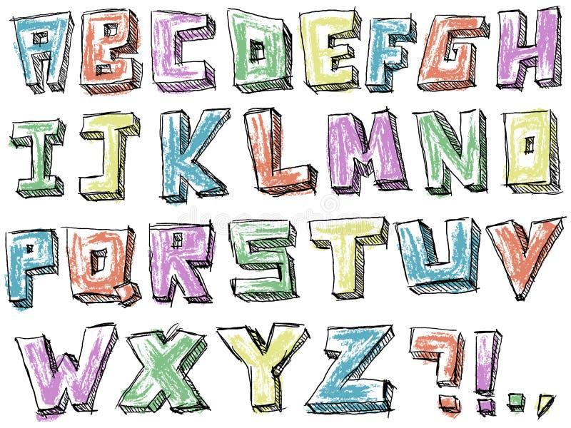 五颜六色的概略手拉的字母表 向量例证