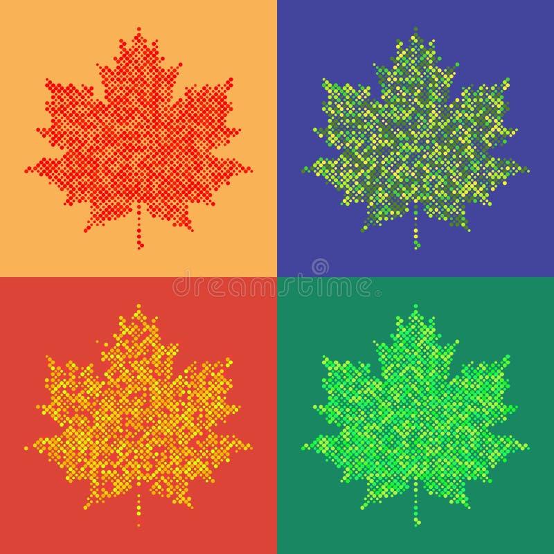五颜六色的槭树叶子被隔绝的半音秋天背景 向量例证