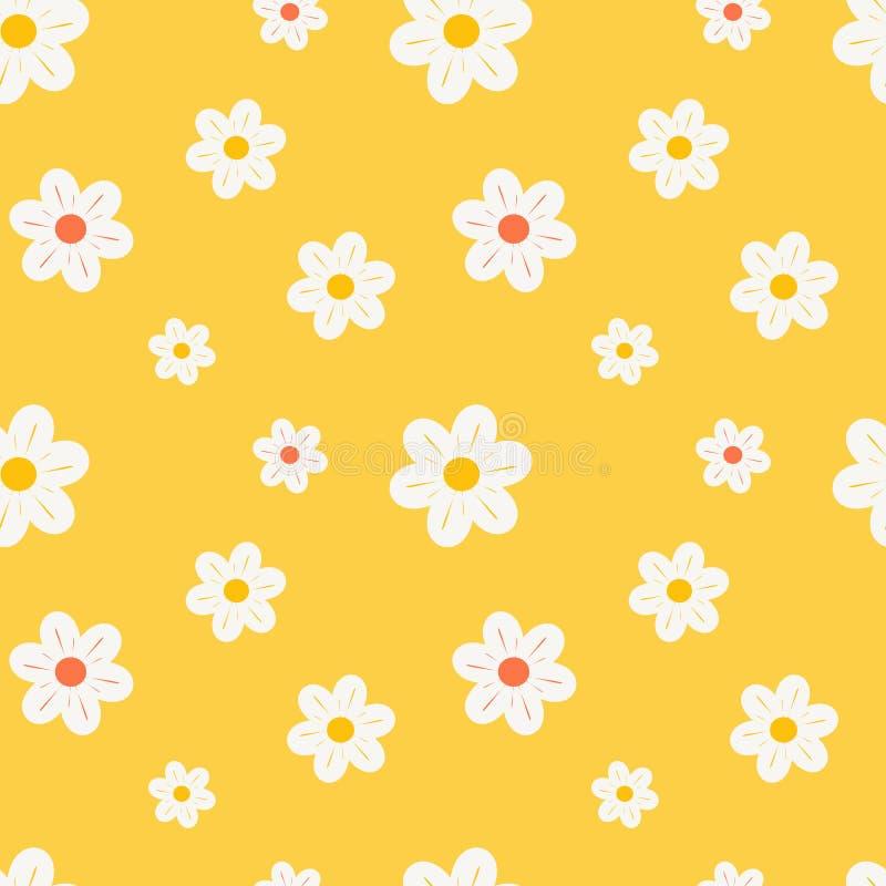 五颜六色的橙色白色和黄色雏菊开花无缝的样式背景例证 向量例证