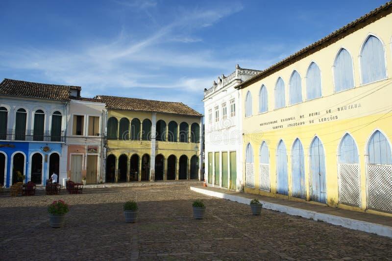 五颜六色的殖民地建筑学Lencois巴伊亚巴西 库存照片