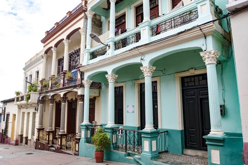 五颜六色的殖民地architectur,圣地亚哥 免版税库存图片