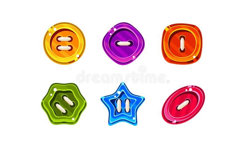 五颜六色的比赛或网络设计接口传染媒介例证的果冻光滑的按钮在白色背景 向量例证