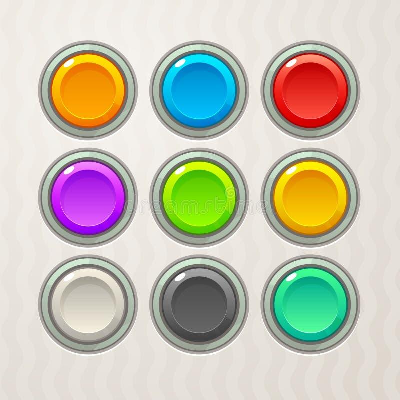 五颜六色的比赛按钮 库存例证