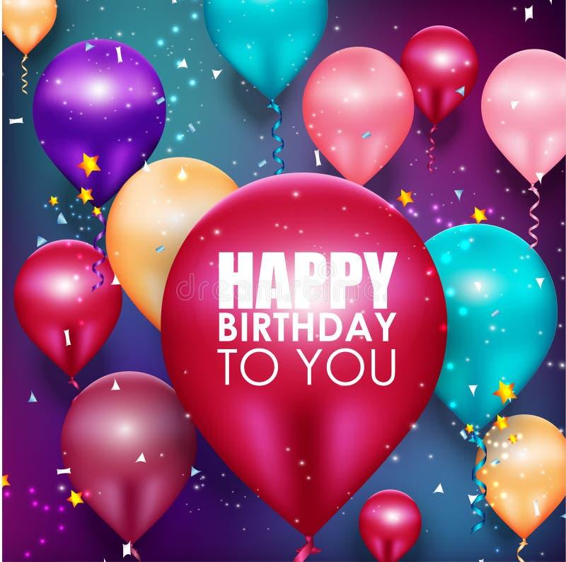 五颜六色的气球生日快乐背景 皇族释放例证