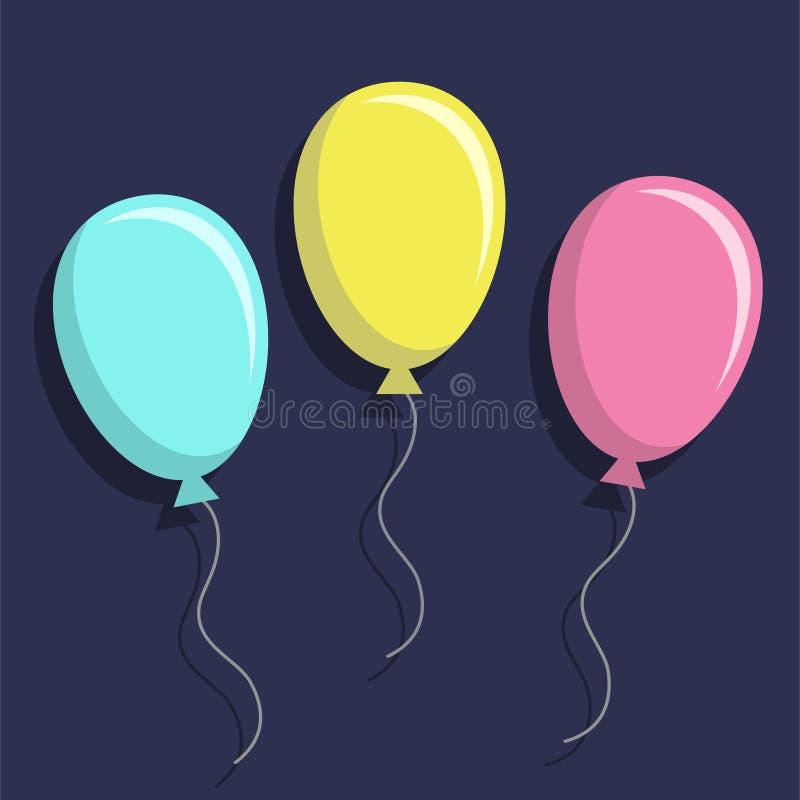 五颜六色的气球,平的样式 库存例证