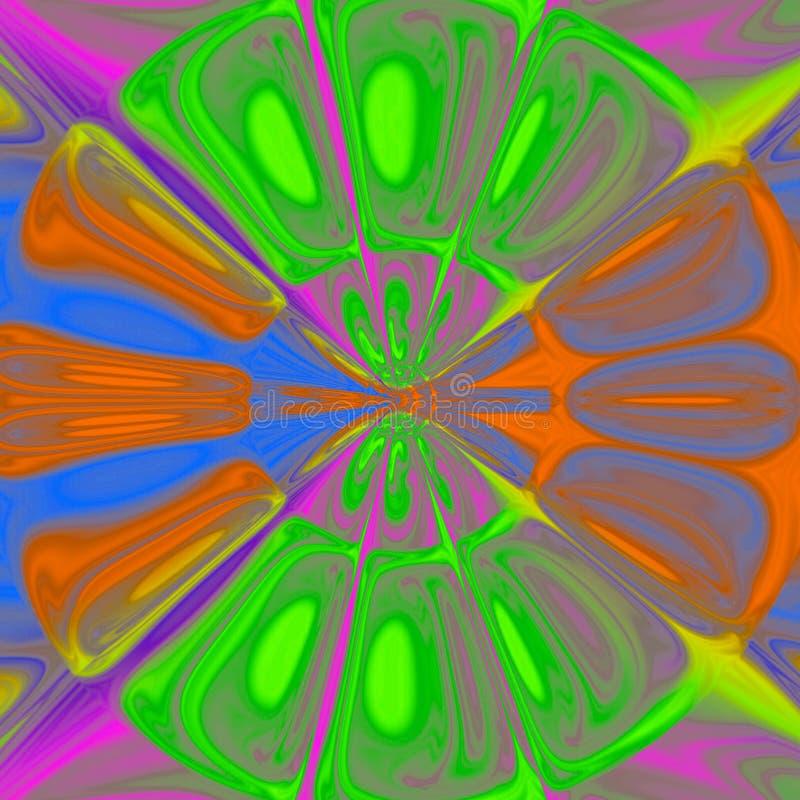 五颜六色的氖转动充满活力的分数维,在紫罗兰色的明亮的光亮的多色背景,橙色,绿色,蓝色颜色blum作用 皇族释放例证
