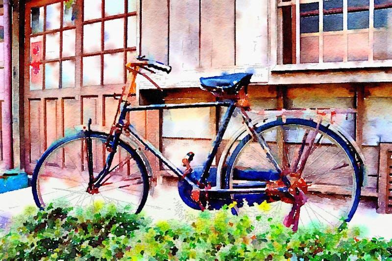 五颜六色的水彩手画艺术例证:日本风格小屋/与老自行车的大厦 向量例证