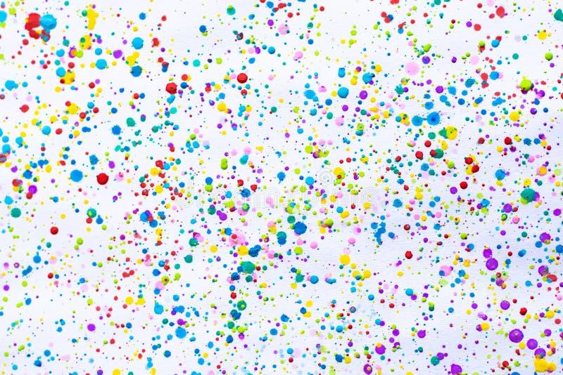 五颜六色的水彩绘的飞溅 污点,被弄脏的斑点 ?? 多个斑点和污点水彩在白色背景 免版税图库摄影