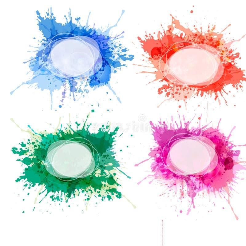 五颜六色的水彩背景的收集。 向量例证