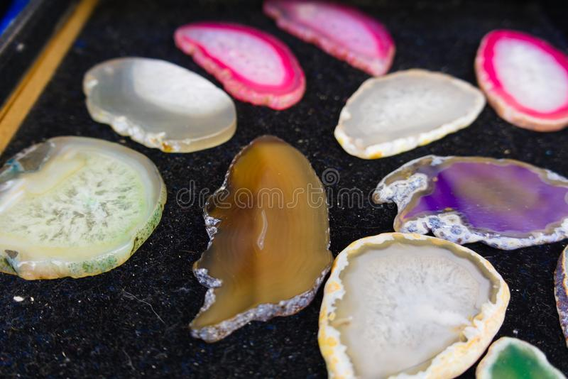 五颜六色的水晶的一汇集 库存图片