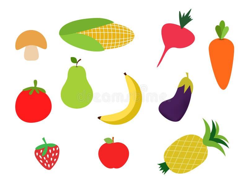 五颜六色的水果和蔬菜clipart集合,香蕉,carot 向量例证