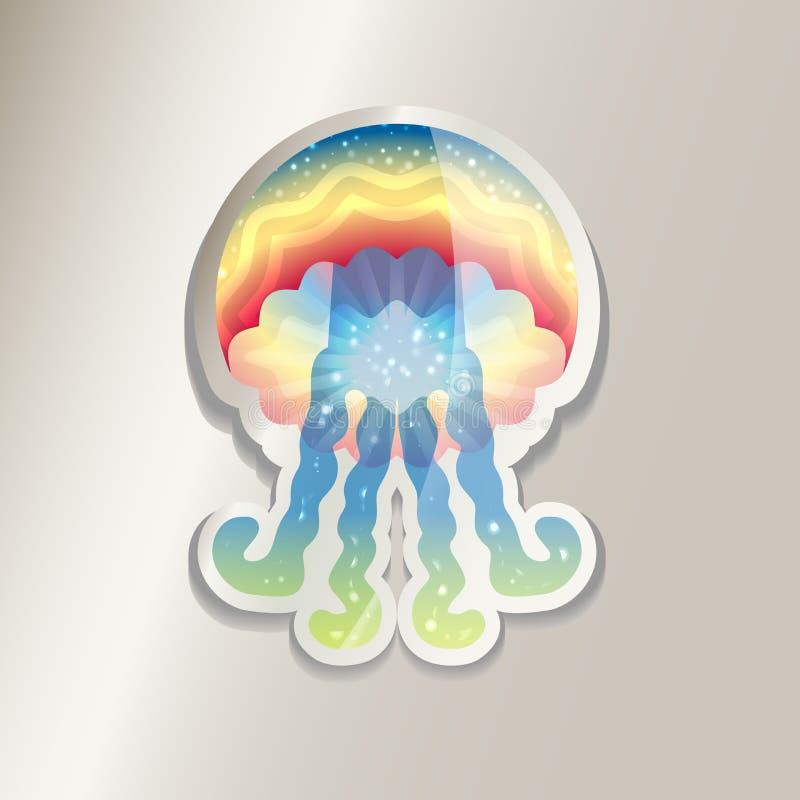五颜六色的水母贴纸  与梯度的抽象水母概念 库存图片