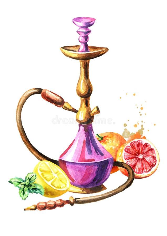 五颜六色的水烟筒用葡萄柚、柠檬和薄菏 水彩手拉的例证,隔绝在白色背景 库存例证