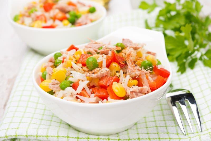 五颜六色的沙拉用玉米、绿豆、米、红辣椒和金枪鱼 库存照片