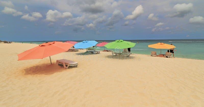 五颜六色的沙滩伞在阿鲁巴 免版税库存照片