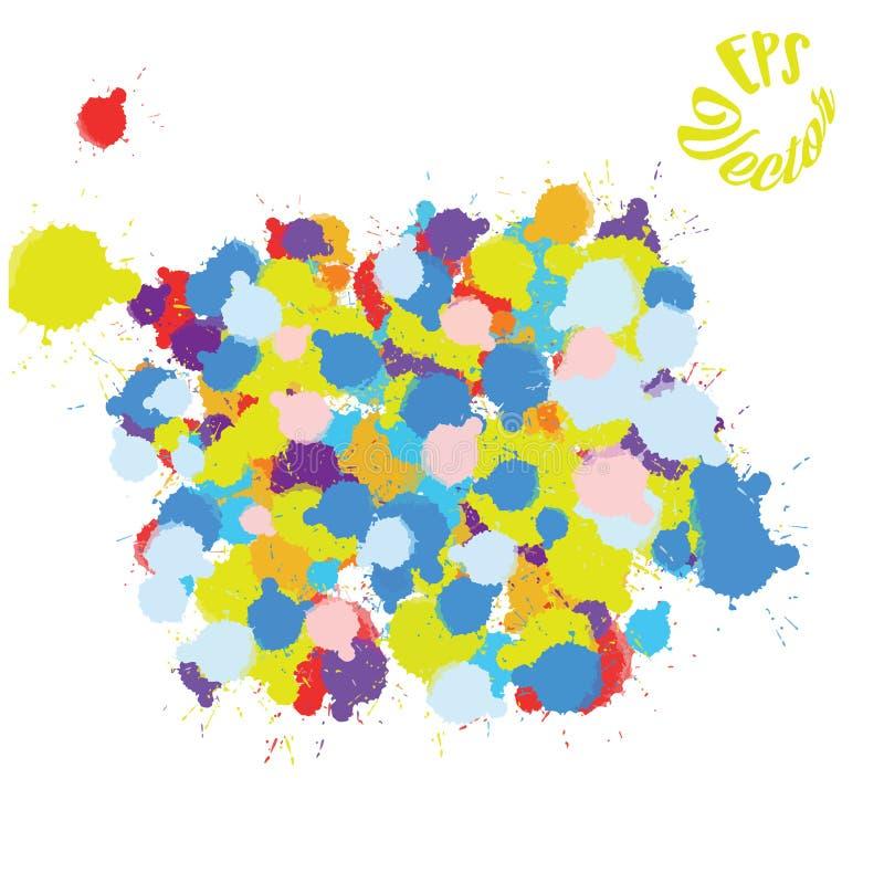 五颜六色的油漆泼溅物背景 向量例证