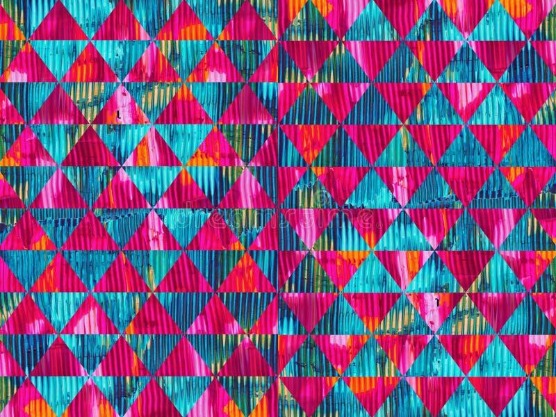 五颜六色的油漆纹理三角无缝的样式设计 向量例证