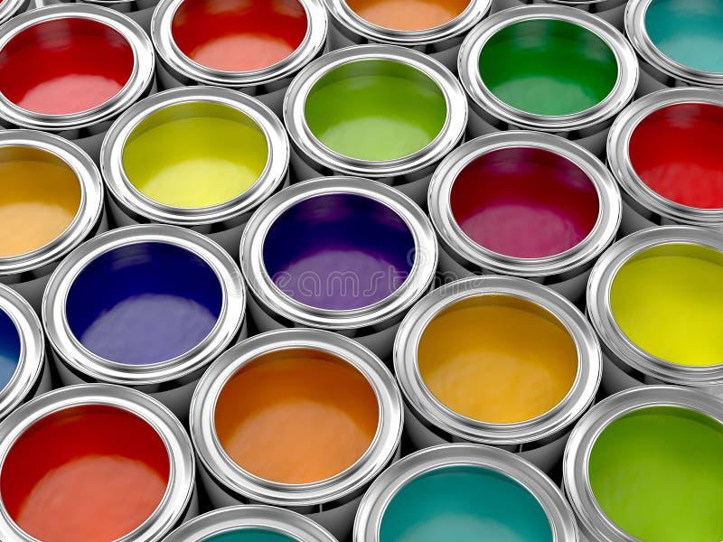 五颜六色的油漆罐头 向量例证
