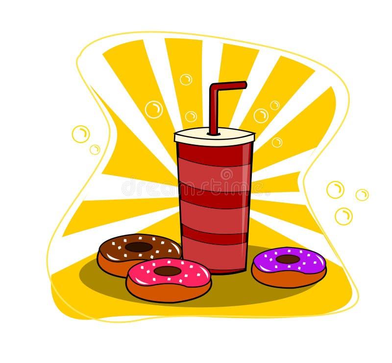 五颜六色的油炸圈饼和咖啡动画片传染媒介例证 向量例证
