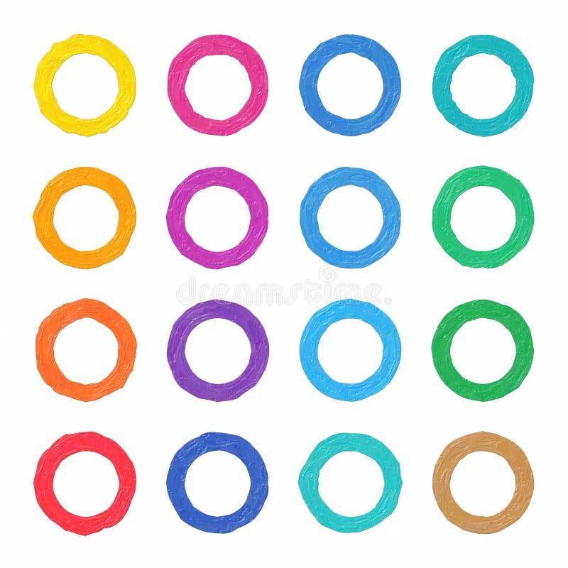 五颜六色的油画手画艺术例证:圆环 库存例证