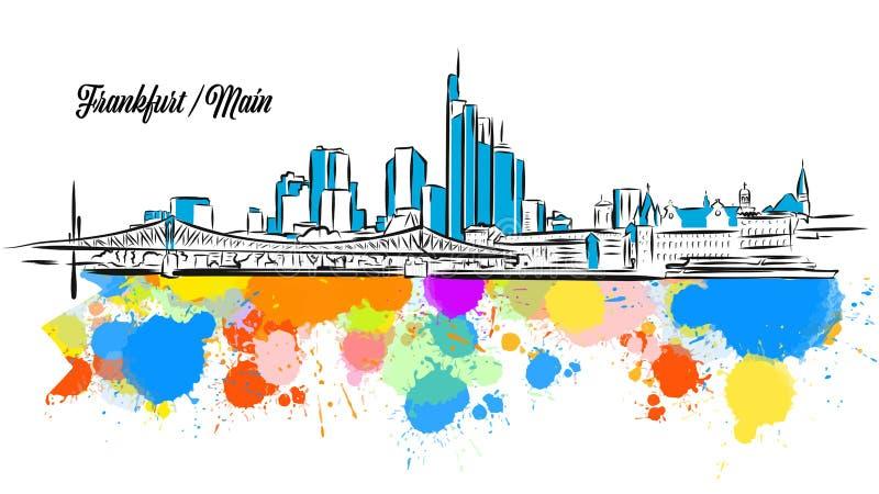 五颜六色的法兰克福主要都市风景横幅 向量例证