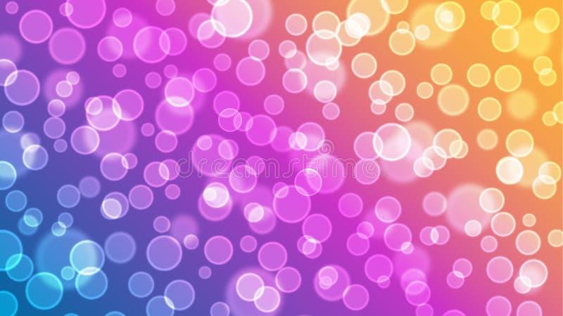 五颜六色的泡影和Bokeh光背景墙纸 库存例证