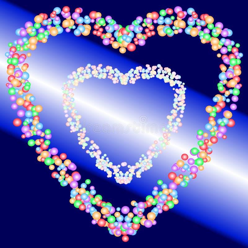 五颜六色的泡影的两个心脏形状样式在梯度蓝色和光束背景的 也corel凹道例证向量 库存例证