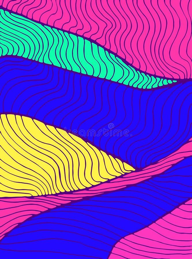 五颜六色的波浪提取装饰装饰品纹理 乱画装饰元素卡片 波浪传染媒介手拉的幻想 库存例证