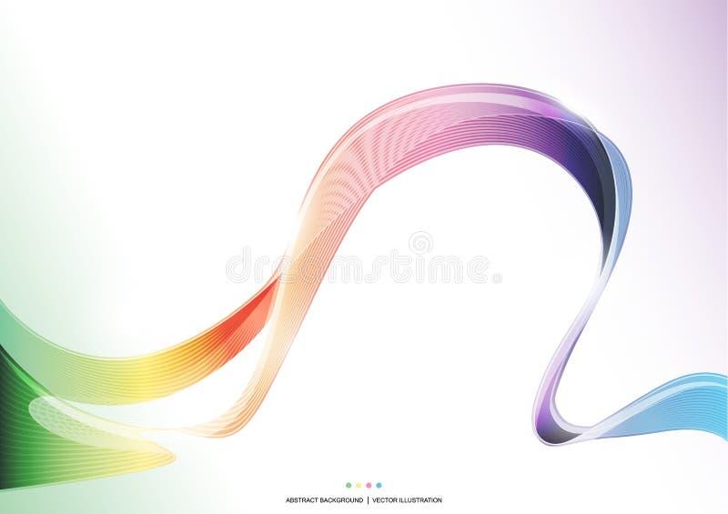 五颜六色的波浪条纹丝带摘要背景,彩虹概念,透明传染媒介例证 向量例证