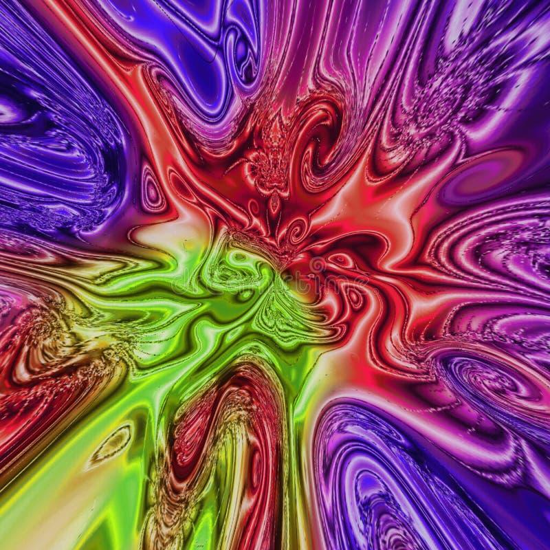 五颜六色的泪珠螺旋分数维,多色背景在紫色,紫罗兰色,红色,绿色,蓝色和黄色 库存例证