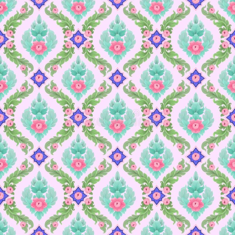 五颜六色的泰国艺术无缝的样式 向量例证