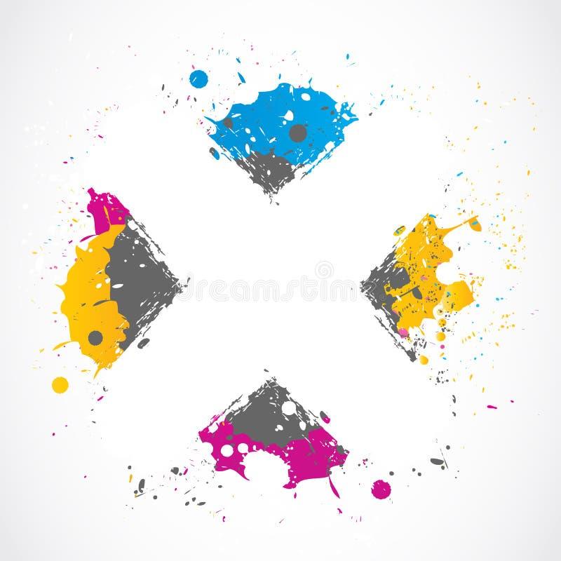五颜六色的泼溅物难看的东西概念 库存例证