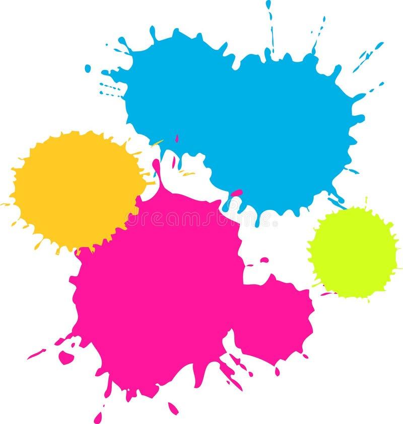 五颜六色的泼溅物 库存例证