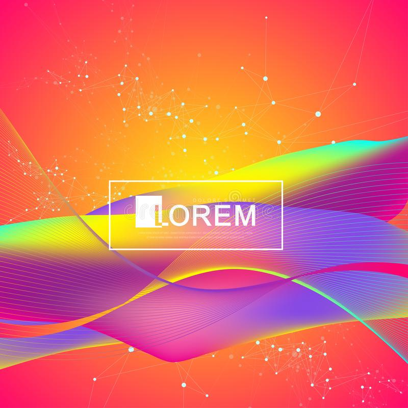 五颜六色的流体挥动与梯度 未来派时髦设计 您的设计的现代传染媒介模板 向量例证