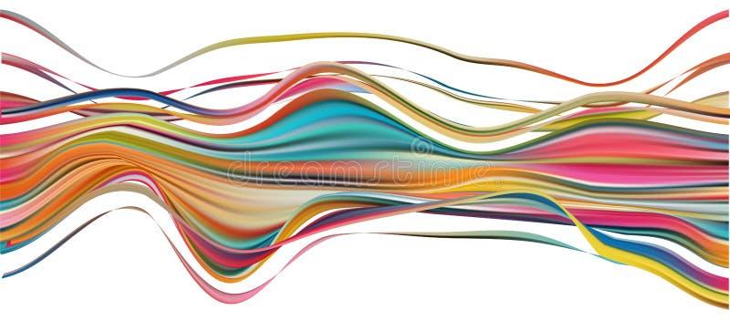 五颜六色的流程刷子冲程 丝带被隔绝的线 向量例证