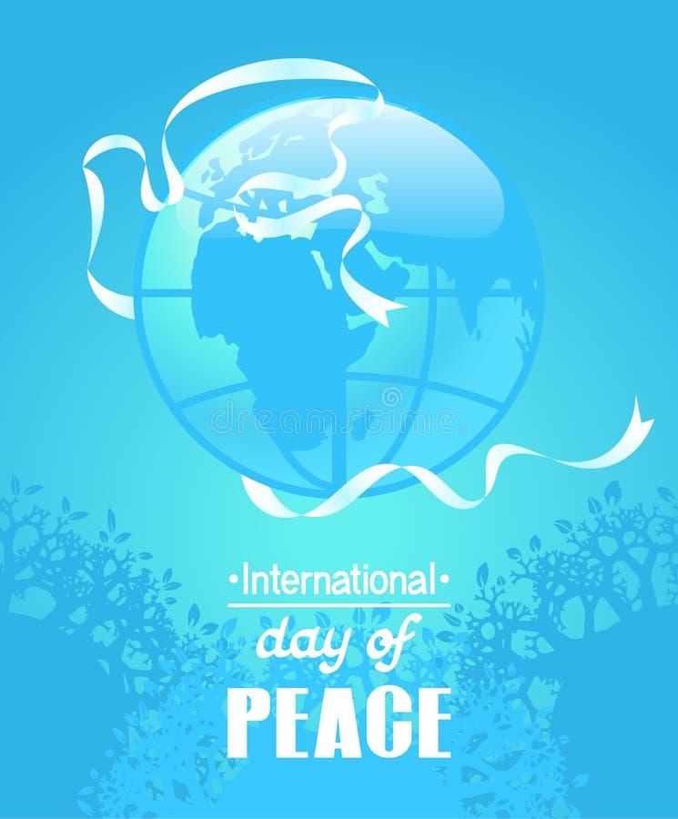 五颜六色的海报为国际和平天 以鸠剪影的形式白色丝带 库存例证