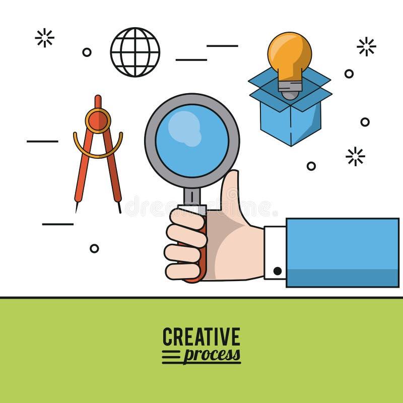 五颜六色的海报创造性的过程用手拿着指南针的放大镜和象和在纸板箱的电灯泡 库存例证