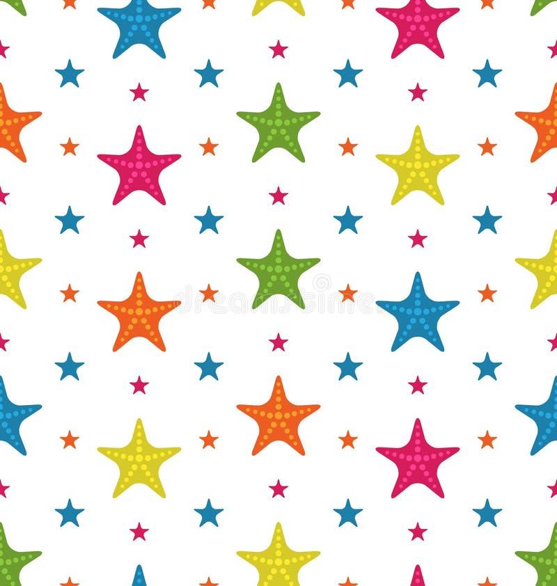 五颜六色的海星,夏天无缝的背景 向量例证