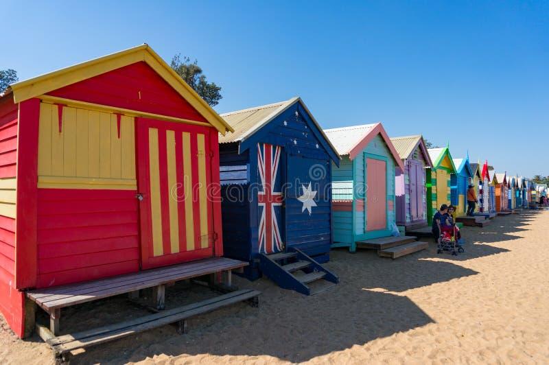 五颜六色的海滨别墅著名地标布赖顿海滩的在墨尔本,澳大利亚 免版税库存图片