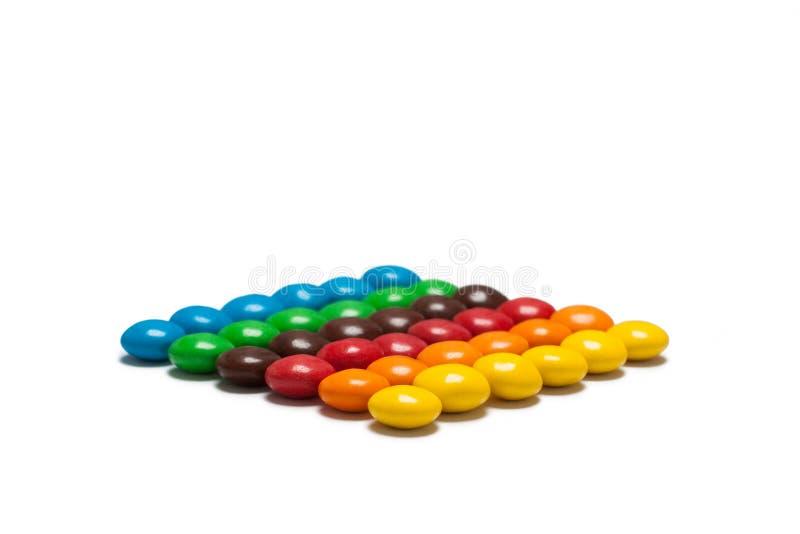 五颜六色的涂上巧克力的糖果的小条 库存图片
