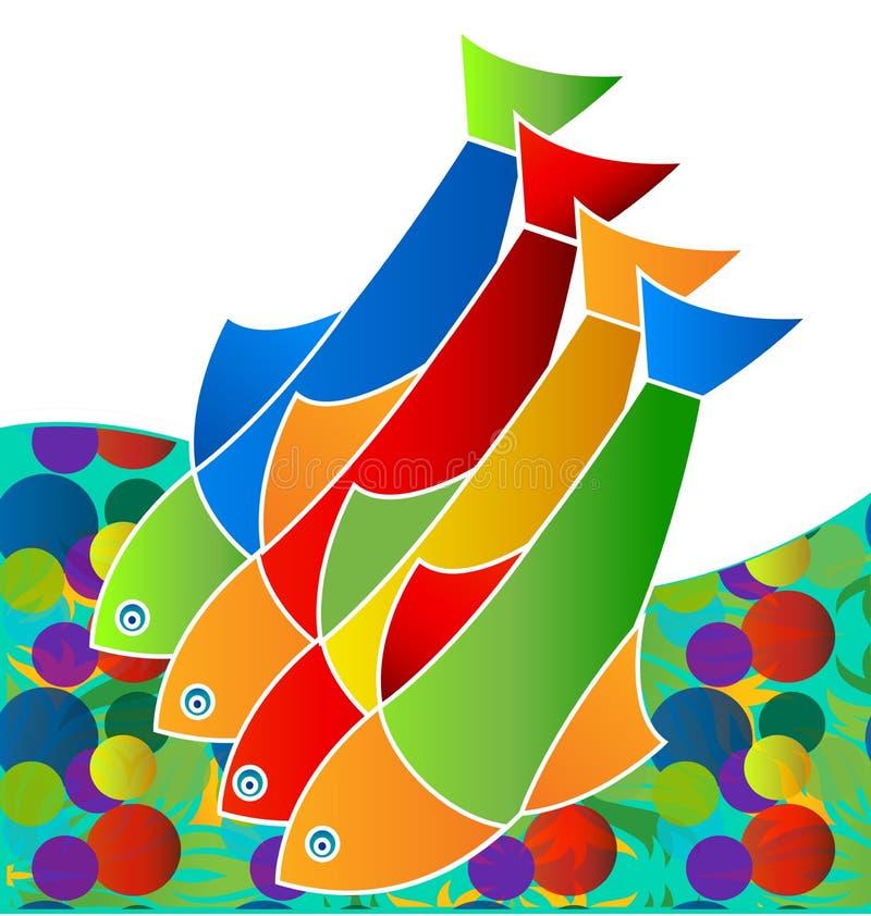 五颜六色的淡水鱼,生活在海,象传染媒介 皇族释放例证