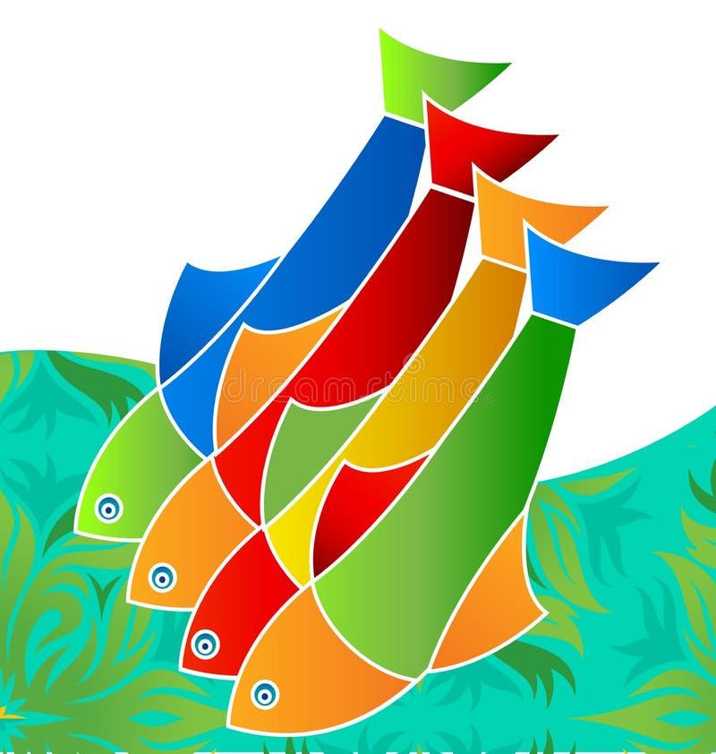 五颜六色的淡水鱼,生活在海,象传染媒介 库存例证
