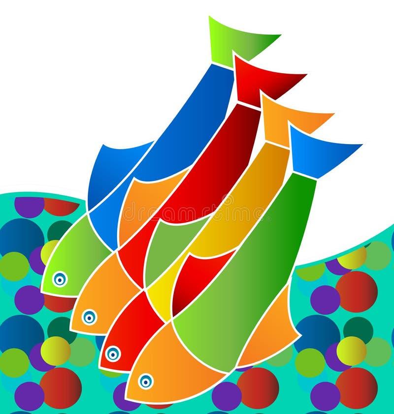五颜六色的淡水鱼,生活在海,象传染媒介 向量例证