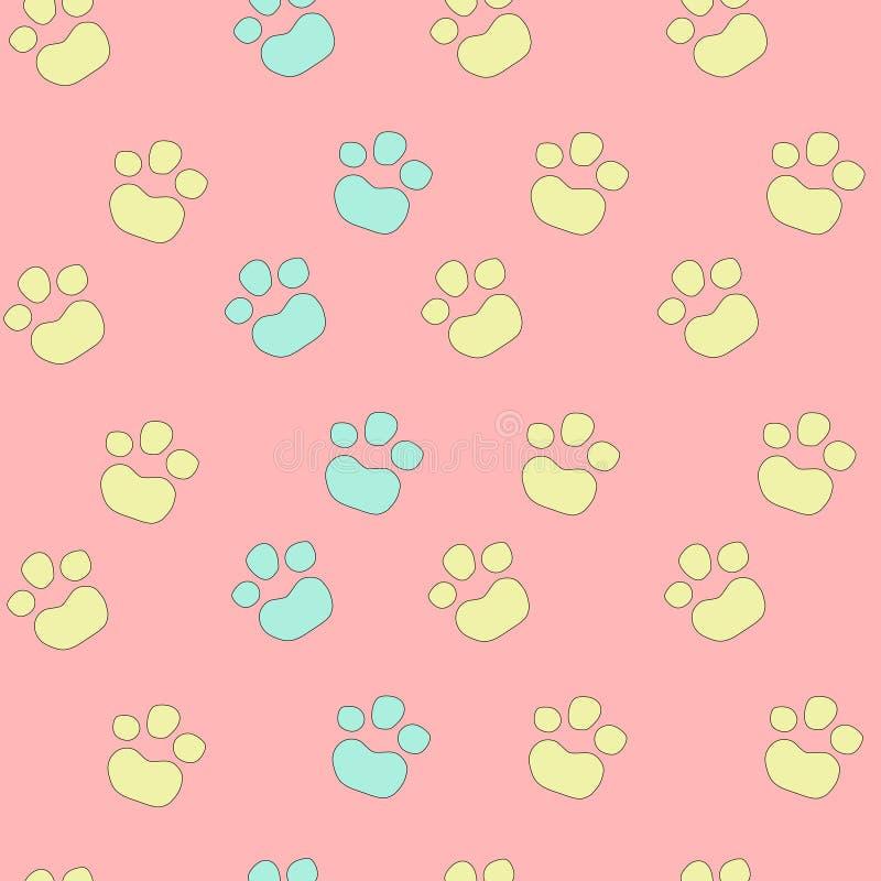 五颜六色的淡色动物脚印无缝的样式 向量例证